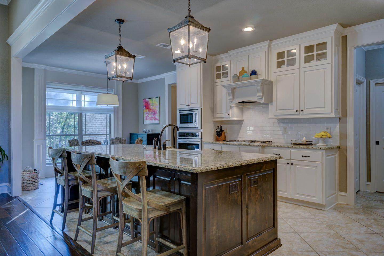 a sleek modern kitchen with an island